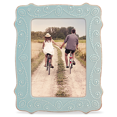 "Lenox French Perle Ice Blue 5X7"" Picture Frame"