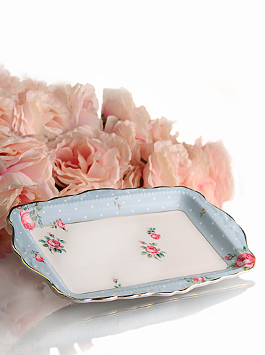 Royal Albert New Country Roses Polka Blue Vintage Formal 11 in Sandwich Tray