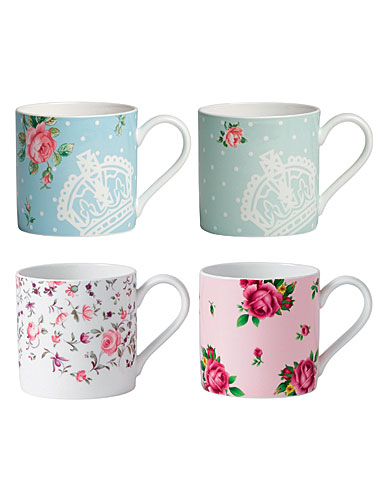 Royal Albert China New Country Roses Modern Mugs Set of Four (Pink, Blue, Rose, Confetti)