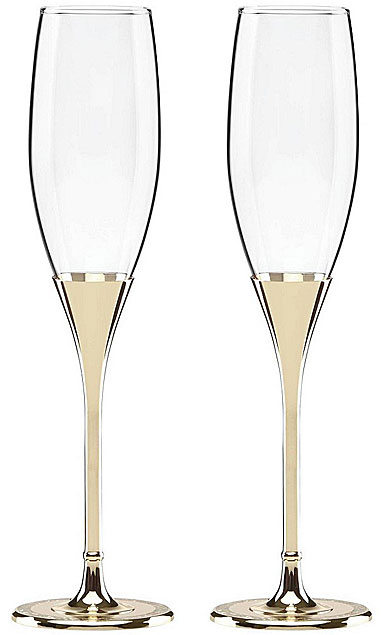 kate spade new york, Simply Sparkling Gold Champagne Crystal Flutes, Pair
