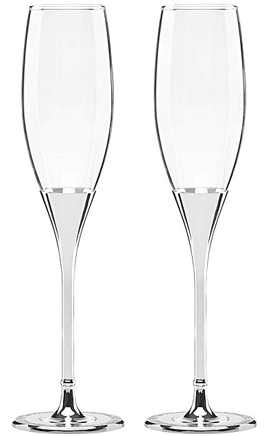 kate spade new york, Simply Sparkling Silver Champagne Crystal Flutes, Pair