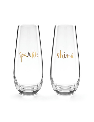 Lenox Kate Spade Sparkle and Shine Stemless Flutes, Pair
