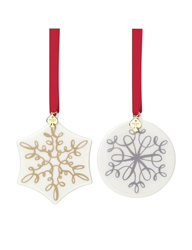 Lenox kate spade jingle all the way ornaments set of two - Ornament tapete weiay ...