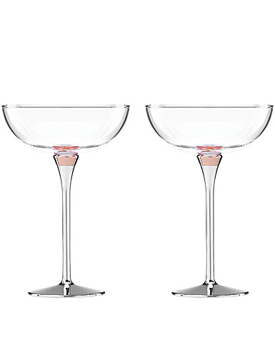 Lenox Kate Spade Rosy Glow Champagne Saucers, Pair