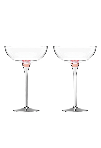 Kate Spade New York, Lenox Rosy Glow Champagne Saucers, Pair
