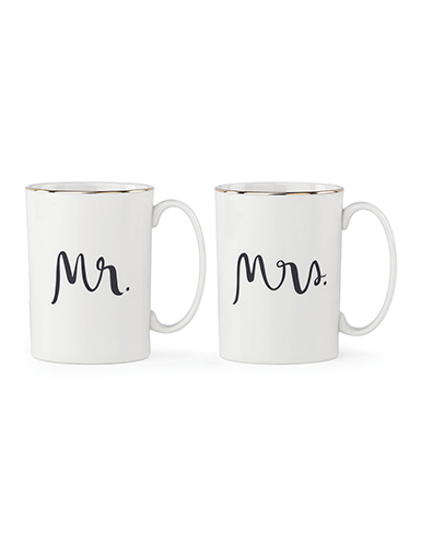 Lenox Kate Spade Bridal Party Mr and Mrs Mug Set