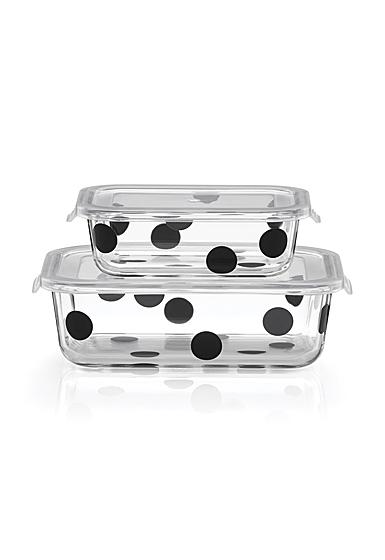Kate Spade New York, Lenox Deco Dot Rectangular Dish With Lid Set Of Four