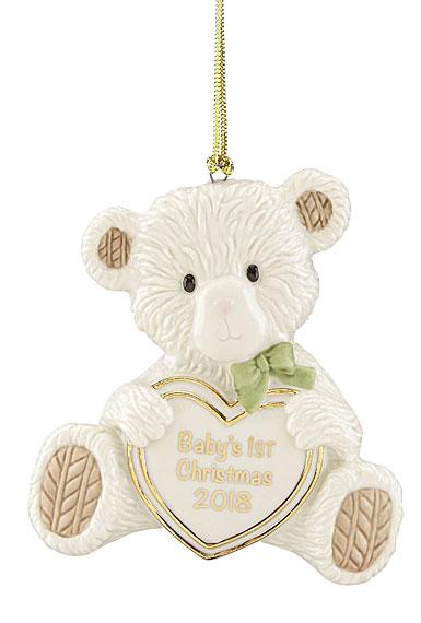 Lenox 2018 Baby's 1st Christmas Teddy Bear Christmas Ornament