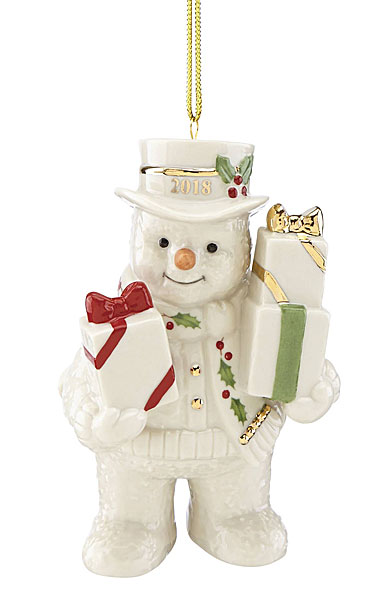 lenox 2018 gifts galore snowman christmas ornament - Lenox Christmas Decorations