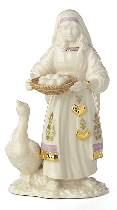 Lenox China First Blessing Nativity Goose and Girl Sculpture