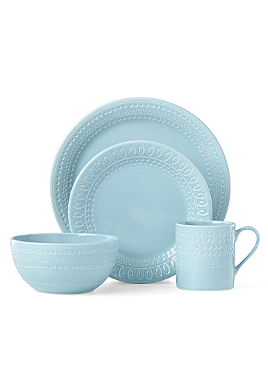 Kate Spade China by Lenox, Stoneware Willow Drive Blue 4pc Place Setting