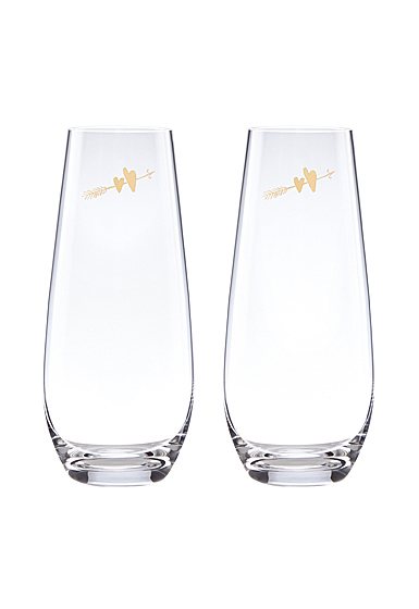 Kate Spade New York, Lenox Two Hearts Stemless Champagne Flute Pair