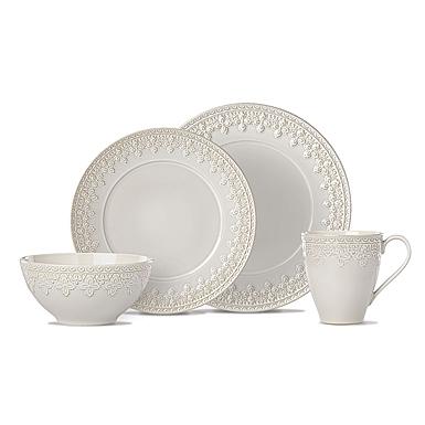 Lenox Chelse Muse Dinnerware Fleur Grey 4 Piece Place Setting