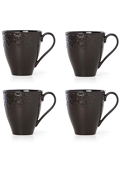 Lenox Chelse Muse Dinnerware Fleur Matt Black Mug Set Of Four