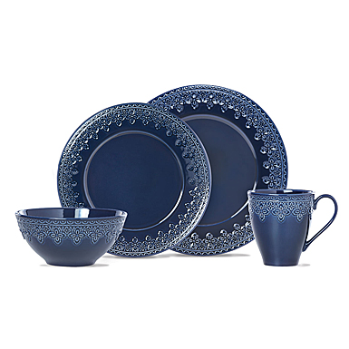Lenox Chelse Muse Dinnerware Fleur Navy 4 Piece Place Setting