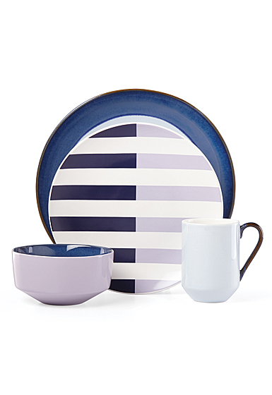 Kate Spade China by Lenox, Stoneware Nolita Blue 4 Piece Place Setting