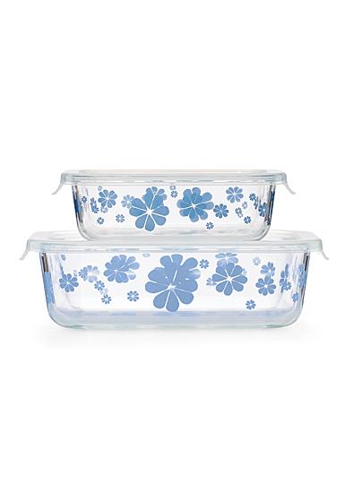 Kate Spade China by Lenox, Nolita Blue Glass Storage, Rectangular set of 2