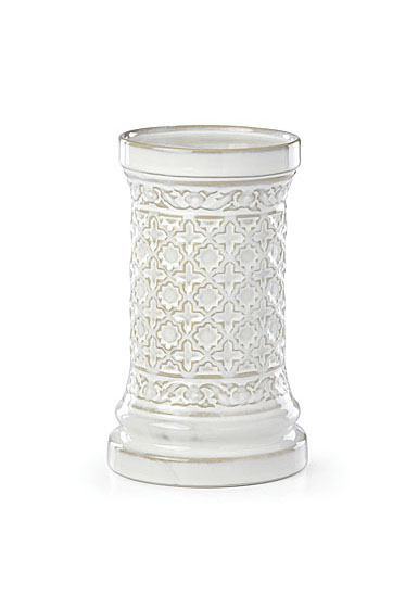 Lenox Global Tapestry Stoneware Pillar Candle Holder White 8""