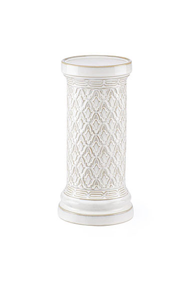 Lenox Global Tapestry Stoneware Pillar Candle Holder White 10""