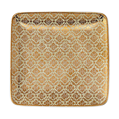 """Lenox Global Tapestry Small Square Tray Gold 6"""""""