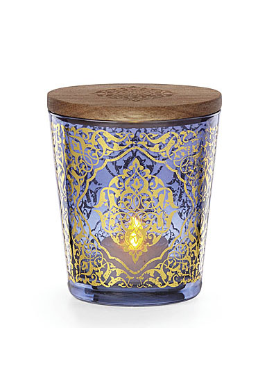 """Lenox Global Tapestry Glass Votive Blue with Tealight 4.5"""""""