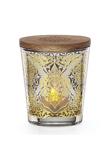 Lenox Global Tapestry Glass Votive Smoke with Tealight 4.5""
