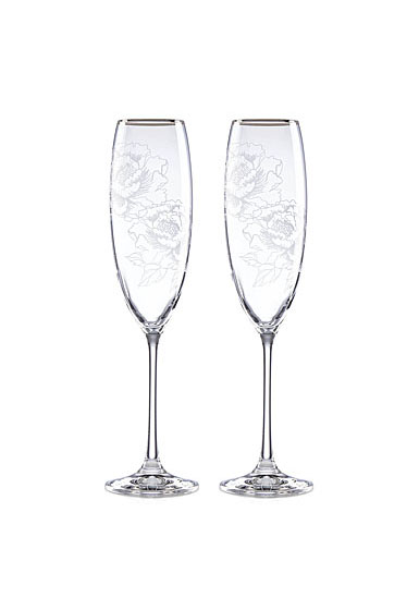 Lenox Silver Peony Crystal Toasting Flutes, Pair