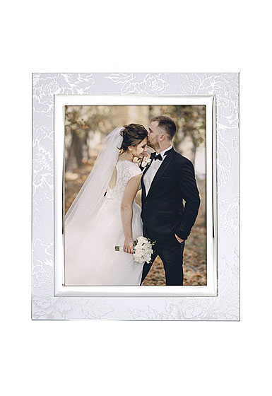 """Lenox Silver Peony 8x10"""" Picture Frame"""