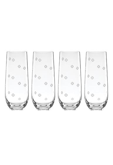 Kate Spade New York, Lenox Spade Clover Stemless Flute Glass Set Of Four