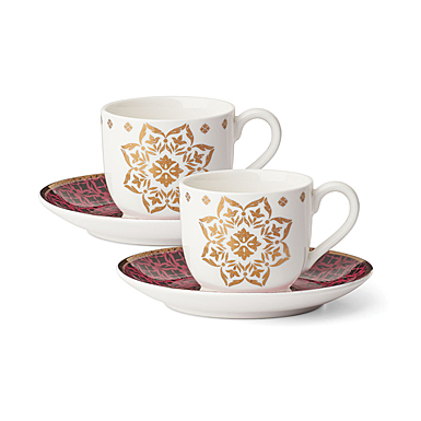 Lenox Global Tapestry Garnet Dinnerware Cup Saucer Set