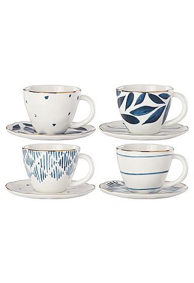 Lenox Blue Bay Dinnerware Espresso Cups And Saur Set Of Four