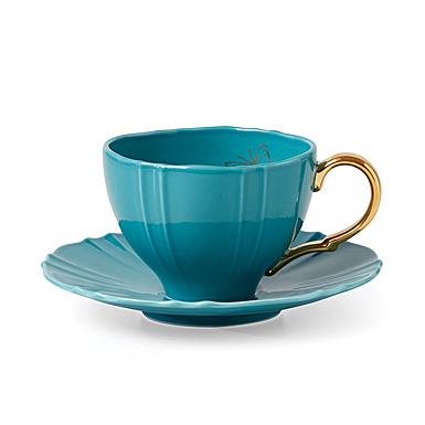 Lenox Sprig And Vine Dinnerware Tea Cup Saucer Turquoise