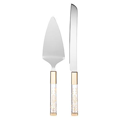 Lenox Opal Innocence Flourish Metal Cake Knife And Server