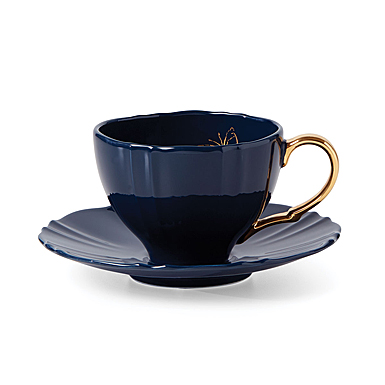 Lenox Sprig And Vine Dinnerware Tea Cup Saucer Navy