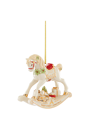 Lenox 2021 Baby's 1st Christmas Rocking Horse Dated Ornament