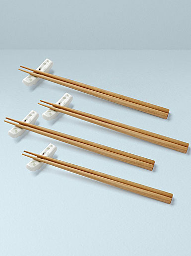 Lenox Butterfly Meadow Chopstick Stand with 4 Chopsticks, Set