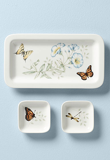 Lenox Butterfly Meadow Sushi Plate with 2 Dip Bowls, Set