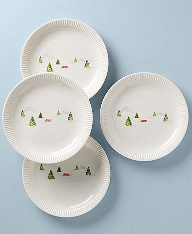 Lenox Profile Snow Day 4 Piece Dinner Plate Set