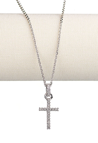 Swarovski Rhodium and Crystal Pave Cross Pendant Necklace