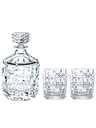 Nachtmann Punk Decanter and 2 Whiskey Tumblers Set