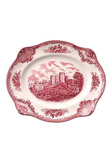 Johnson Brothers Old Britain Castles Pink Scalloped Platter 12""