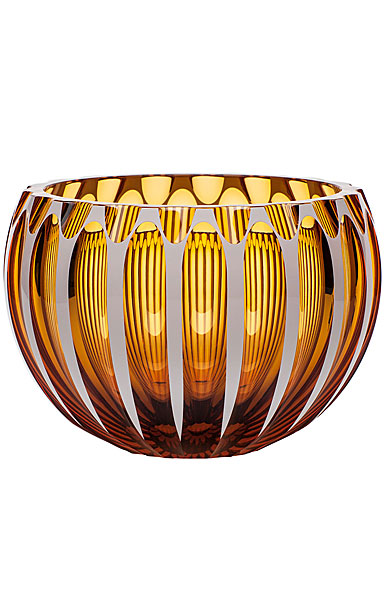 "Moser Crystal Century Bowl 9.8"" Topaz and White"