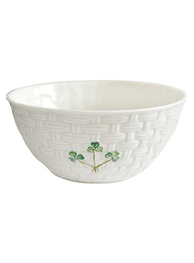 "Belleek China Shamrock 6"" Basketweave Bowl"