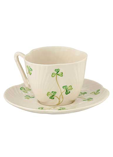 Belleek China Harp Shamrock Teacup and Saucer