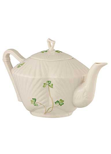 Belleek China Harp Shamrock Teapot