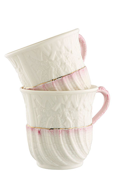 Belleek Masterpiece Neptune Mugs, Pair