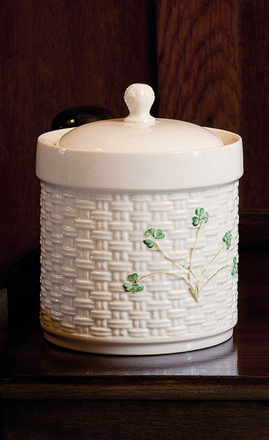 Belleek China Shamrock Canister