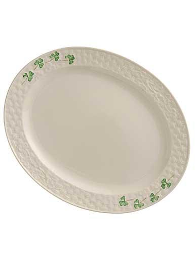 Belleek China Shamrock Small Oval Platter