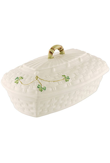 Belleek China Shamrock Covered Butter Dish