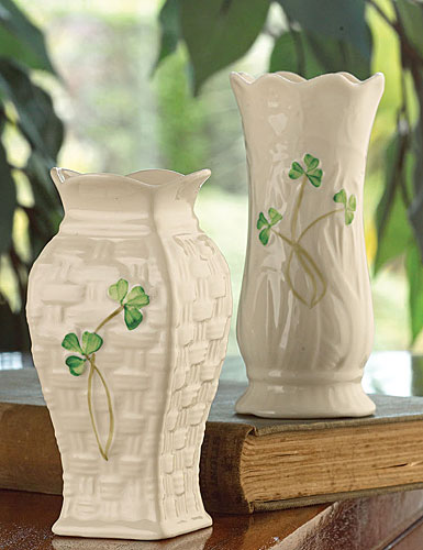 Belleek China Mini Vases, Set of 2